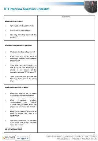 KTI Interview Question Checklist