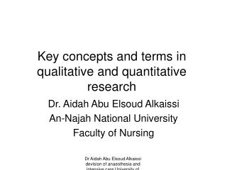 Key concepts and terms in qualitative and quantitative research