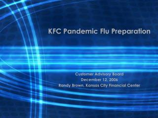 KFC Pandemic Flu Preparation