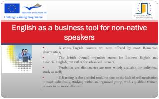 English as a business tool for non-native speakers