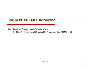Lecture #1: PD - Ch 1. Introduction
