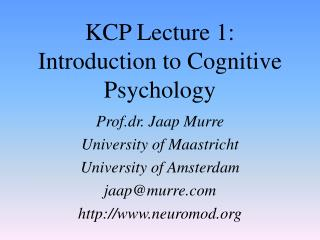 KCP Lecture 1: Introduction to Cognitive Psychology
