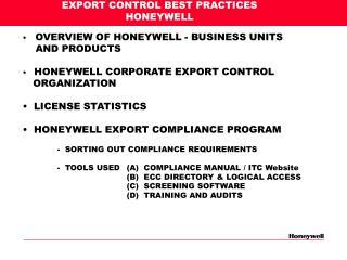 EXPORT CONTROL BEST PRACTICES HONEYWELL