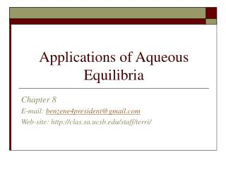 Applications of Aqueous Equilibria