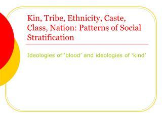 Kin, Tribe, Ethnicity, Caste, Class, Nation: Patterns of Social Stratification