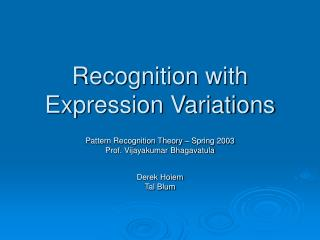 Recognition with Expression Variations