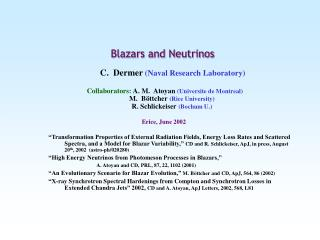 Blazars and Neutrinos