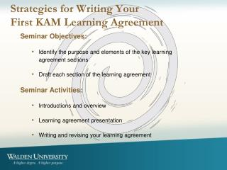 Strategies for Writing Your  First KAM Learning Agreement