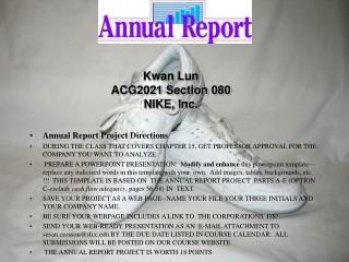 Annual Report Project Directions :