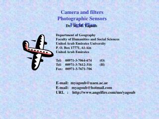 Camera and filters Photographic Sensors Flight Plan