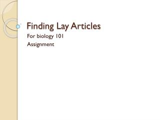 Finding Lay Articles