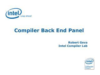 Compiler Back End Panel