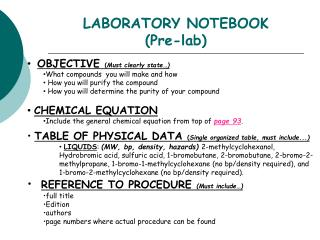 LABORATORY NOTEBOOK (Pre-lab)