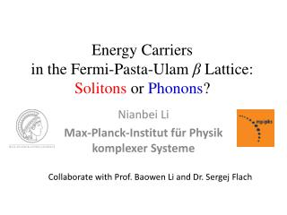 Energy Carriers  in the Fermi-Pasta- Ulam ?  Lattice:  Solitons  or  Phonons ?