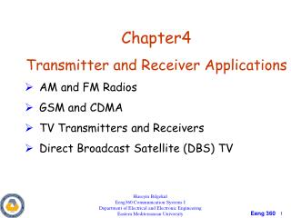 Chapter4 Transmitter and Receiver Applications AM and FM Radios GSM and CDMA