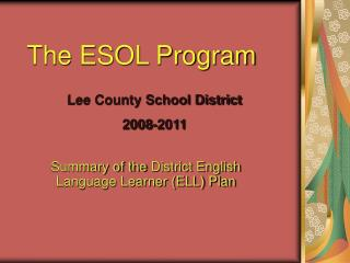 The ESOL Program