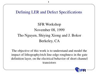 Defining LER and Defect Specifications