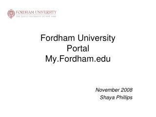 Fordham University Portal My.Fordham