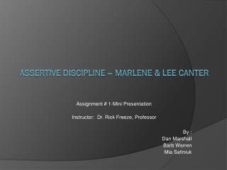 Assertive Discipline – Marlene & Lee Canter