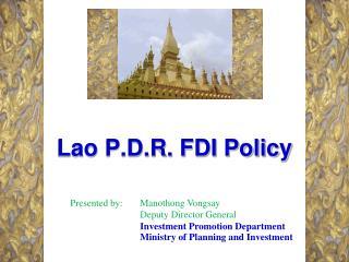 Lao P.D.R. FDI Policy