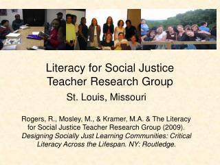 Literacy for Social Justice  Teacher Research Group