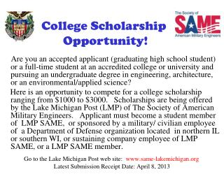 College Scholarship  Opportunity!