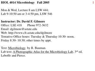 BIOL 4014 Microbiology   Fall 2005