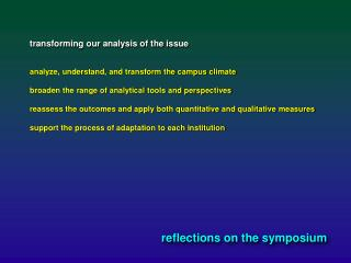 reflections on the symposium