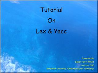 Tutorial On Lex & Yacc