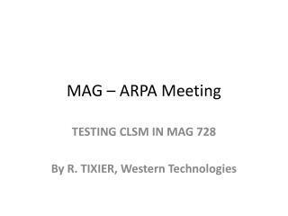 MAG – ARPA Meeting