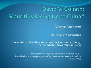 David V. Goliath:  Mauritius Facing Up to China*
