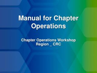 Manual for Chapter Operations