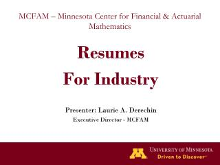 MCFAM – Minnesota Center for Financial & Actuarial Mathematics