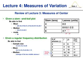 Lecture 4: Measures of Variation