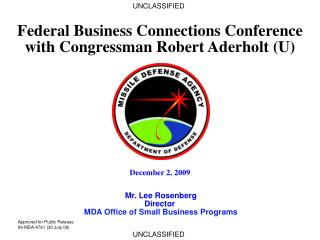 Federal Business Connections Conference with Congressman Robert Aderholt (U)