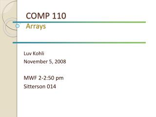 COMP 110 Arrays