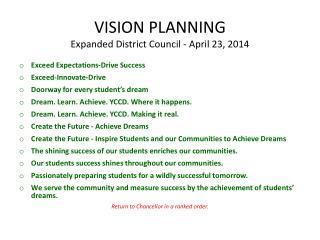 VISION PLANNING Expanded District Council - April 23, 2014