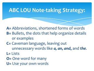 ABC LOU Note-taking Strategy:
