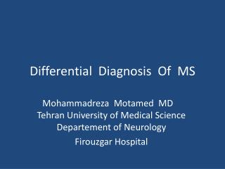 Differential  Diagnosis  Of  MS