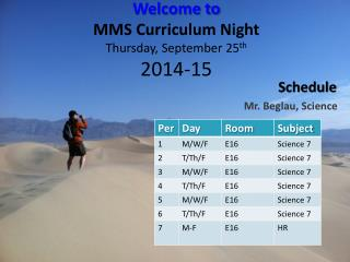 Welcome to MMS Curriculum Night Thursday , September  25 th 2014-15
