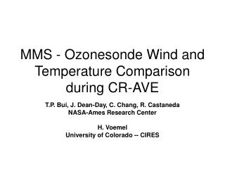 MMS - Ozonesonde Wind and Temperature Comparison during CR-AVE