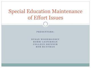 Special Education Maintenance of Effort Issues
