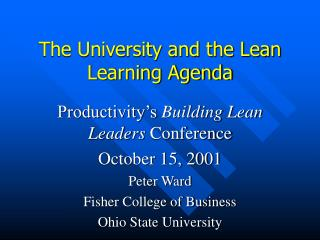 The University and the Lean Learning Agenda