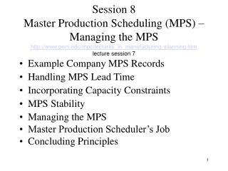 Example Company MPS Records Handling MPS Lead Time Incorporating Capacity Constraints