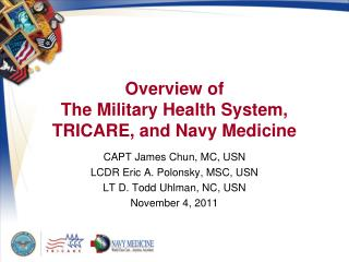 Overview of The Military Health System, TRICARE, and Navy Medicine