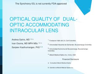 OPTICAL QUALITY OF  DUAL-OPTIC ACCOMMODATING INTRAOCULAR LENS
