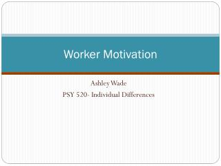 Worker Motivation