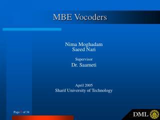 MBE Vocoders