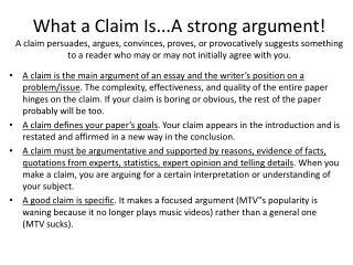 What are the differences? Opinion vs. Arguable Claim