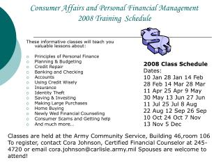 Consumer Affairs and Personal Financial Management  2008 Training Schedule